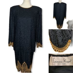 Vintage 80s Beaded Silk Dress Laurence Kazar NY